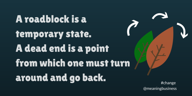 A roadblock is a temporary state. #change #meaningbusiness