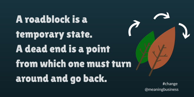 A roadblock is a temporary state.#change #meaningbusiness
