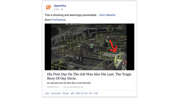 Recent headline from Upworthy showing how to engage readers about safety issues