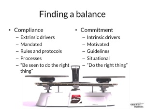 Finding the right balance between commitment and compliance is important for  communicating mandatory requirements.