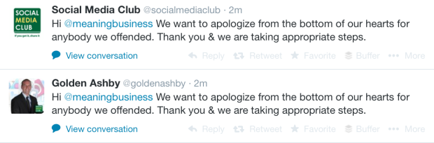 12 hours after the original contact, Social Media Club have apologised and removed the original post by Audrey Rochas