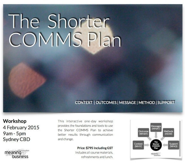 New Workshop to apply the Shorter COMMS Plan is now available.